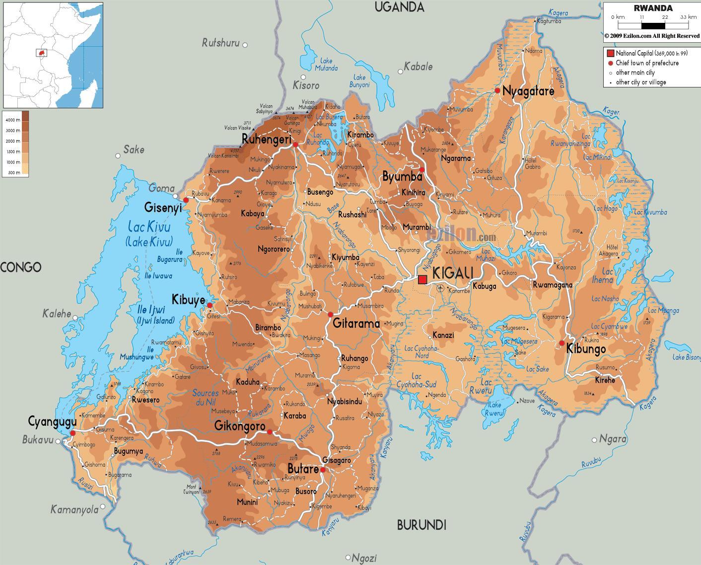 Fysisk Kort Over Rwanda Kort Af Fysisk Kort Over Rwanda Ostlige