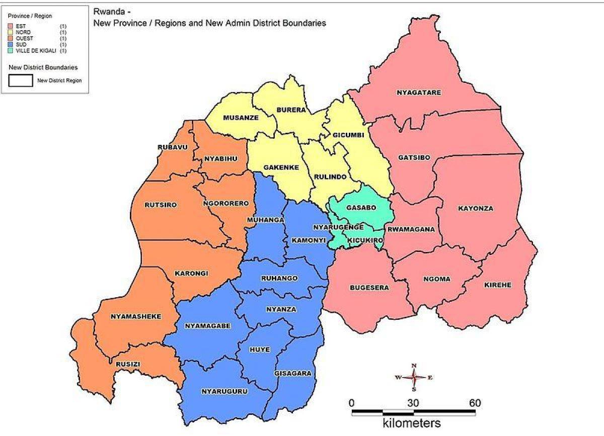 Rwanda Kort Provinser Kort Over Rwanda Kort Provinser Det
